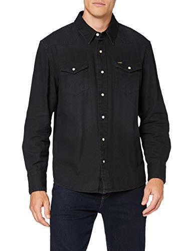 Wrangler Icons Camisa, Negro Lavado, S para Hombre