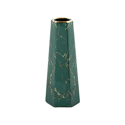 HCHLQLZ 25cm Mármol Verde Dorado Decorativos Modernos Ceramica Jarrones de Flores para Mesa de Comedor Sala de Estar Idea Regalo para Cumpleaños Boda Navidad