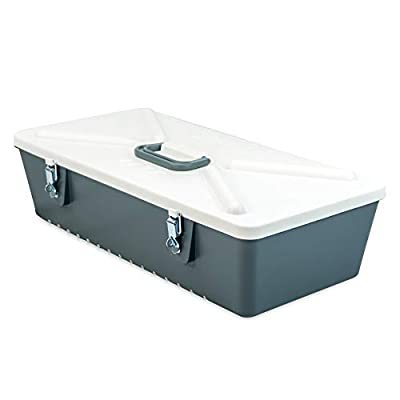 Special Mate Fishing Lure Tackle Box - Body Bait & Spoon Storage - Grey/White - Durable Hard Plastic with Metal Latches