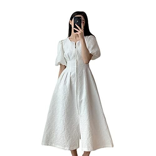 RYSF Biała Sukienka Letnia Talia W Talii Była Cienka, Bufiastka, Długa Spódnica Temperamentu (Color : White, Size : Medium code)