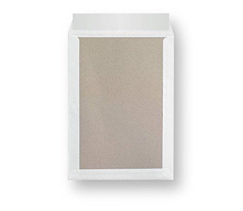 10 Stück STRATAG Versandtaschen B4 in Weiß, mit Papprückwand, Haftklebung und Abdeckstreifen, 250 x 353 mm, für A4-Inhalte