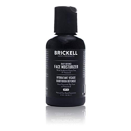 Brickell Men's Daily Defense Face Moisturizer for Men, Natural and Organic, Zinc SPF20 Face Moisturizing Sunscreen, Hydrates and Protects Skin Against Harmful UVA/B rays, 2 Ounces, Unscented