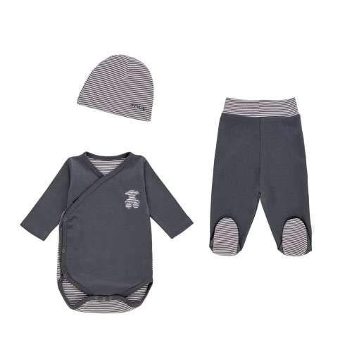 TOUS BABY - Set de Body Cruzado con Polaina y Gorro para tu Bebé. Color Gris. (0 a 3 Meses)