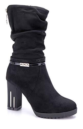 Schuhtempel24 Damen Schuhe Winterstiefeletten Stiefel Boots schwarz Blockabsatz Reißverschluss/Ziersteine 9 cm