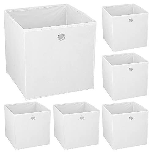 Murago 6er Set Faltbox ca. 30x30x30 cm Weiß Würfel Aufbewahrungsbox faltbar Aufbewahrungskörbe Einschub Korb Boxen Box Stoff Regalkorb Klappbox