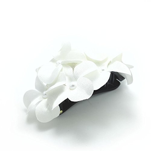 Meilliwish Blume Stoff Pferdeschwanz -Halter Banane Haarklammer (H29)(Weiß)