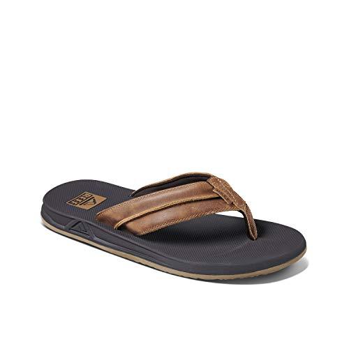 Reef Men's Sandals | Leather Element TQT | Athletic Flip Flops, Brown, 8