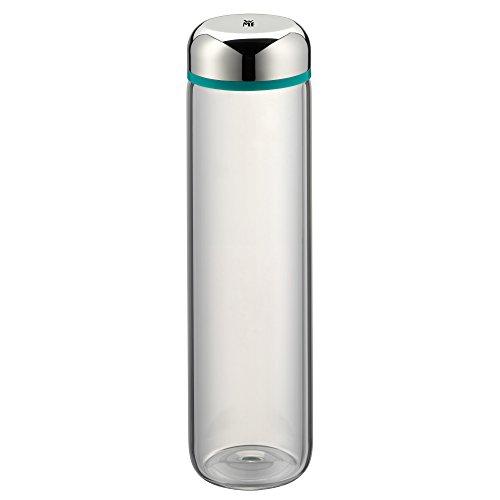 WMF Basic Trinkflasche, 750 ml, Höhe 26 cm, Glasflasche für Warm- und Kaltgetränke, Glas, Cromargan Edelstahl, in Geschenkkarton, türkis