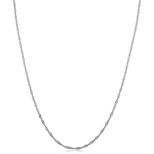 Cadena Singapur de oro blanco de 14 quilates (0,7 mm, 1 mm, 1,4 mm, 1,7 mm)