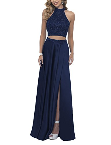 DarlingU Women's 2 Pieces Beaded Prom Party Gown Homecoming Cocktail Dresses Navy Blue 2