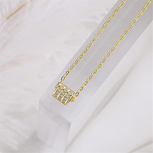 YNING S999 Collar de Cintura Pequeña de Plata Esterlina/Anillo Colgante de Diamante Cadena de Clavícula Fresca Pequeña/Longitud de Cadena Ajustable/Regalos Adecuados para Niñas, Damas y Esposas