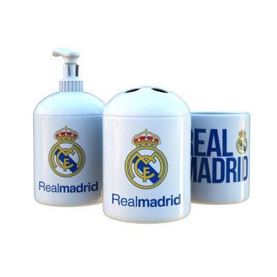 Set de Baño Real Madrid de Tres Piezas: Jabonera, Vaso para Cepillo de Dientes y Vaso.
