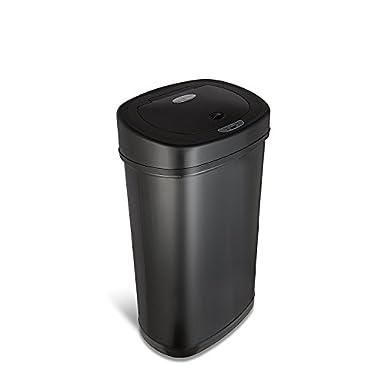 Ninestars DZT-50-9BK Automatic Touchless Motion Sensor Oval Trash Can, 13.2 Gal. 50 L, Black