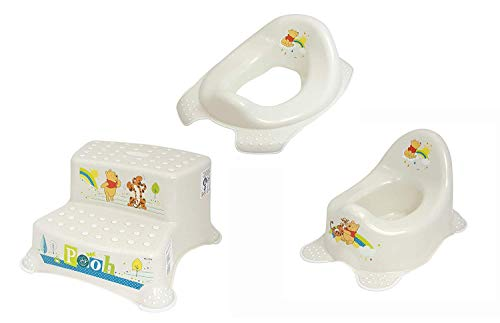 Lot de 3 sièges de toilettes pour enfant Pearl Premium Disney Winnie l'ourson Blanc nacré + marchepied à deux niveaux + pot d'apprentissage