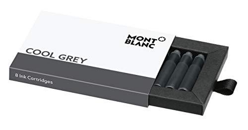 Montblanc Tintenpatronen Cool Grey 119718 – Hochwertige Tinte für Füllfederhalter Austern Grau – 1 Schachtel á 8 Füllerpatronen