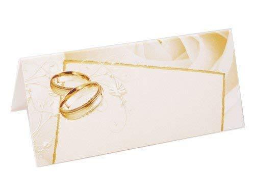 Tischkarten weiß mit Ringen gold IV, 10 x 4,5 cm, 25 Stück