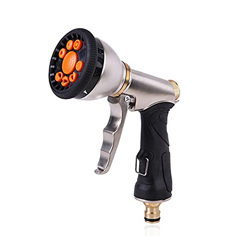 LZZB QXDZSWB Pistola ad Acqua ad Alta Pressione in Metallo Ugello per la Pulizia della Lavatrice Tubo da Giardino Pistola ad Acqua Irrigatore Irrigazione dell'orto (Colore : Grigio Chiaro)