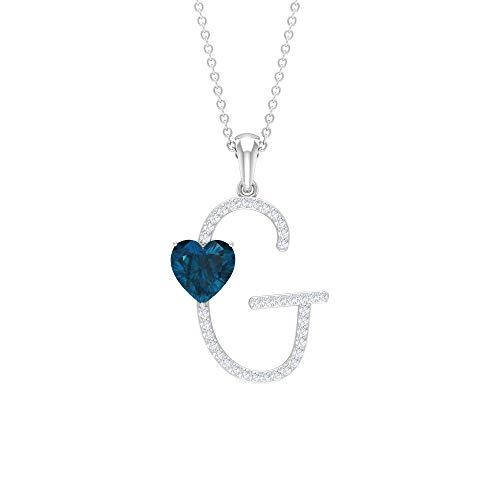Rosec Jewels 18 quilates oro blanco corazón Round Brilliant Blue Topacio azul - Londres Moissanite