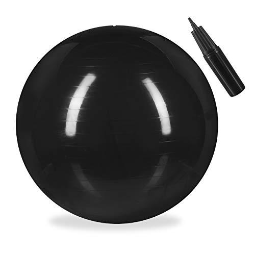 Relaxdays Unisex– Erwachsene Gymnastikball, Fitnessball Yoga & Pilates, Sitzball Büro, Balance Ball inklusive Luftpumpe, Ø 55 cm, schwarz, 1 Stück