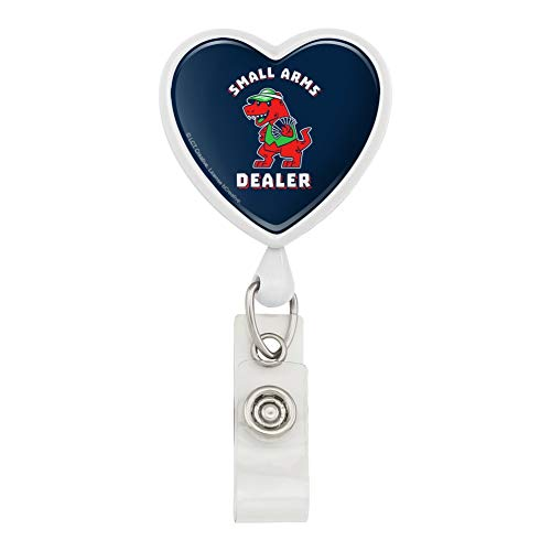 Small Arms Dealer T-Rex Card Poker Funny Humor Heart Lanyard Retractable Reel Badge ID Card Holder