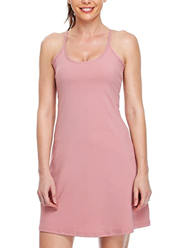 Willit Women's Exercise Dress Tennis Golf Workout Dress with Built-in Bra Yoga Athletic Dress with Pockets Pink M