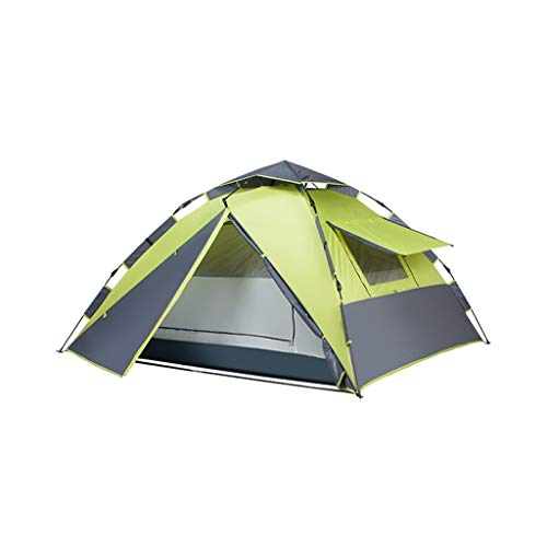 LMJ Automatic Pop Up Tent for Camping 4 Person with 5 Windows Waterproof Instant Family Tent Hiking (Color : Green)