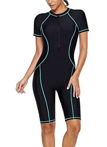 GOSOPIN Damen Badeanzug Tankini Swimsuit Sportlich Bademode Figurformend Neoprenanzug Schwimmanzug, Blau 1, L