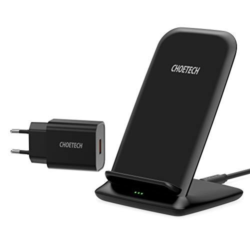 CHOETECH Cargador Inalámbrico 15W, Wireless Charger con QC 3.0 Adaptador, 15W para LG Sony,10 W para Samsung S20/S10/S9/S8/Note20/Note10, 7.5W para iPhone 12/12Pro/11/11Pro/SE 2/XS/XR/X/8,Huawei-Negro