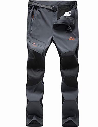 BenBoy Herren Wanderhose Wasserdicht Softshellhose Outdoorhose Winddicht Warm Gefüttert Skihose Snowboardhose Winter Trekkinghose,KZ1602-Grey1-S