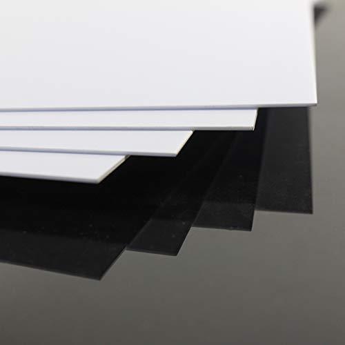 ABS0910 Lot de 4 feuilles en polystyrène ABS Blanc 1 mm d'épaisseur 200 mm x 250 mm
