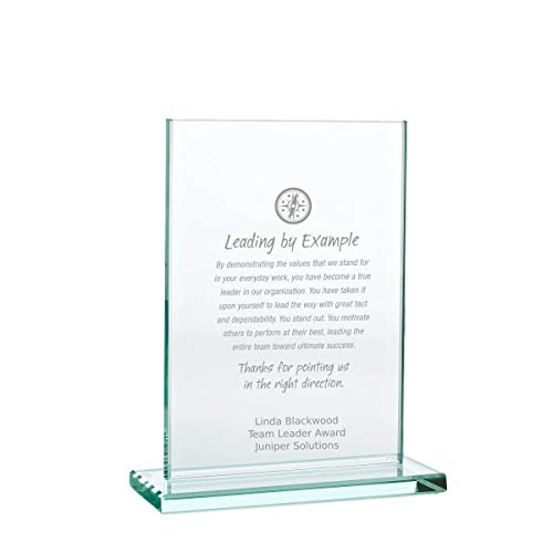 Baudville Engraved Trophy - Jade Glass - Rectangle - Award for Employees - Personalized Engraving Up to Three Lines and Pre-Written Verse Selection - Comes in Gift Box