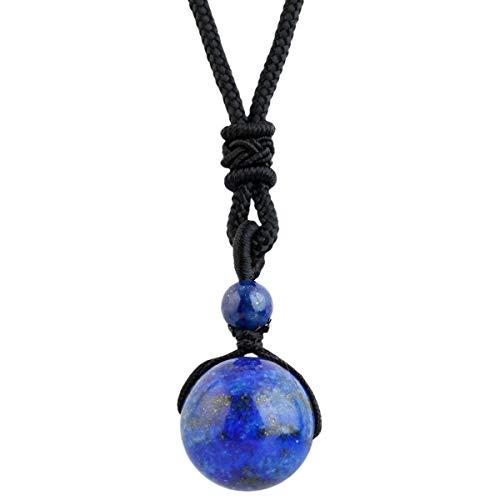 mookaitedecor Lapis Lazuli Yoga Pendentif Perles Rondes Pierre Collier Corde Ajustable pour Homme Femme Noël Saint-Valentin