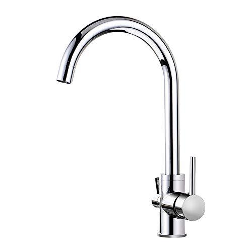 MBYW Grifo de Cocina Grifo para Fregadero de Cocina Diseño Clásico y Profesional Agua El mezclador de lavabo caliente y frío 360 se puede girar libremente al lavabo de la cocina con doble grifo