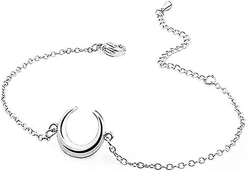 YOUZYHG co.,ltd Collar de Acero Inoxidable, Pulsera con Dije de Luna Creciente para Mujer, Pulseras de lencería Ajustables, joyería Fina