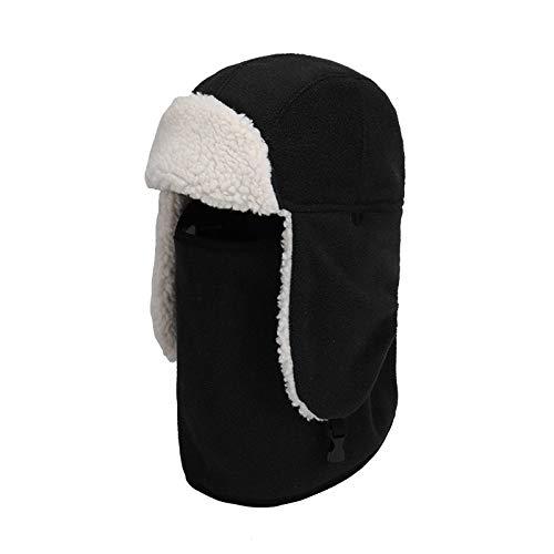 Sombrero De Invierno Trapper,Negro Felpa Caliente Espesante Protector De Cuello Largo Unisex...