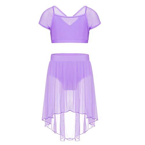zdhoor Kids Girls Ballet Lyrical Dance Dress Gymnastics Leotard Cap Sleeve Mesh Crop Top and High Low Hem Skirts Lavender 12