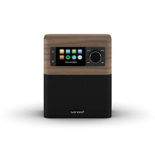 sonoro Stream Internetradio mit DAB Plus und Bluetooth (FM, MP3, Spotify, Amazon, Deezer, spritzwassergeschützt) Design Küchenradio in Walnuss/Schwarz
