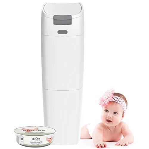SPROSS Baby Windeleimer inkl. Nachfüllkassette - geruchsdichtes System mit Einhandbedienung - Baby Mülleimer für Windeln