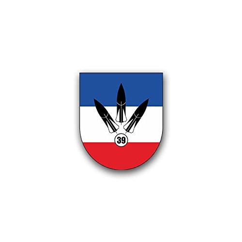 Aufkleber / Sticker - FlaRakBtl 39 Flugabwehrraketenbataillon Bundeswehr Luftwaffe Flugabwehr Eifel Schleswig-Holstein Wappen Abzeichen Emblem passend für VW Golf Polo GTI BMW 3er Mercedes Audi Opel Ford (6x7cm)#A1607