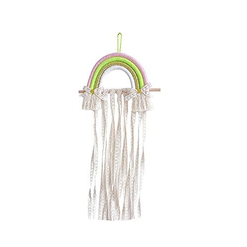 YJKL Rangement pour accessoires de cheveux, étagère de rangement pour photos de jardin, corde en coton multicolore, bâton en bois de style nordique frais pour café, salon