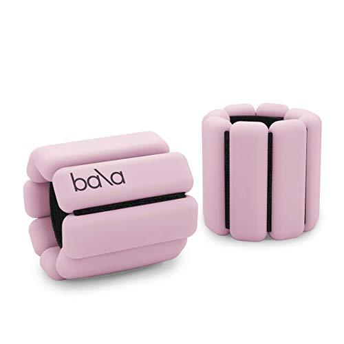 Bala Bangles - Set of 2 (1lb Each) | Adjustable Wearable Wrist & Ankle Weights | Yoga, Dance, Barre, Pilates, Cardio, Aerobics, Walking | Blush Pink