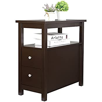 SUPER DEAL Upgraded Narrow End Table Sofa Chair Side Table Nightstand w/ 2 Drawers and Open Storage Shelf for Living Room Bedroom Office Espresso