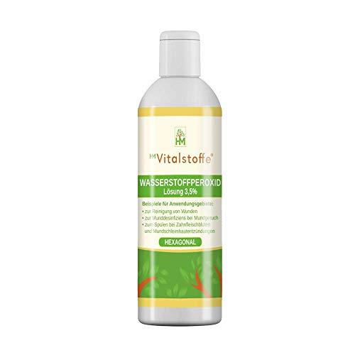 HM Vitalstoffe | Wasserstoffperoxid 3,5% I Keine Stabilisatoren I Lebensmittelqualität I 250 ml | Anwendung: Mundspülung, Desinfizierung, Zähneputzen
