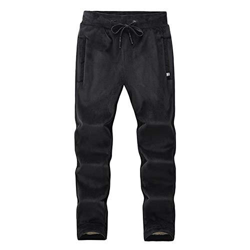 Pantalones Deportivos para Hombre Pantalones Casuales Pantalones de Fitness Pana MáS Terciopelo Recto Slim Fit Suelto CáLido (Negro, XXL)
