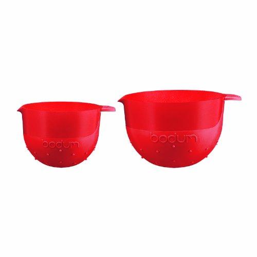 Bodum K11401-294 Rührschüssel-Set, Silikon, 1,4 l und 2,8 l, Rot, 2 Stück