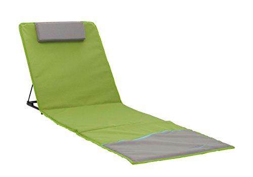 Meerweh Tapis de Plage XXL avec Dossier pour Chaise Longue de Plage ou Pique-Nique env. 200 x 60 cm Vert/Gris 200 x 60 x 68 cm