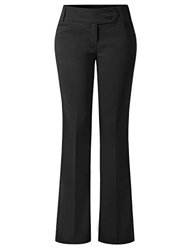 Design by Olivia Women's Relaxed Boot-Cut Stretch Office Pants Trousers Slacks Black L