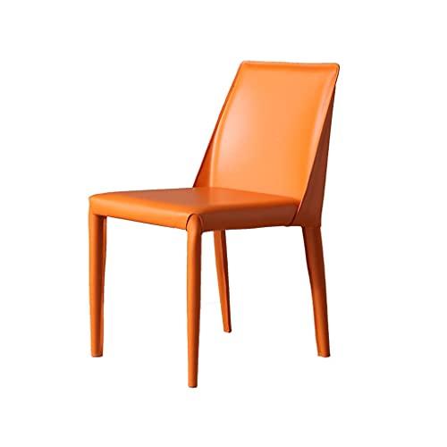 QIAOLI Silla de comedor de cuero para el hogar, moderna y minimalista, estilo italiano, sin sillón, luz nórdica, para restaurante y maquillaje (color: D)