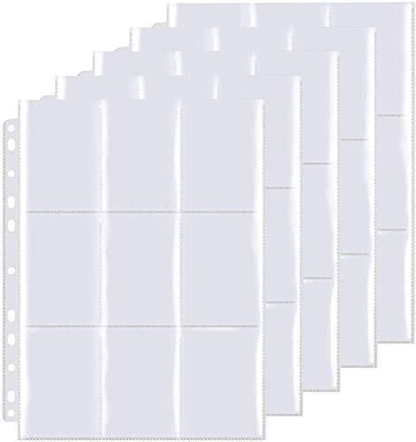 30Páginas Figuritas Comercio Tarjeta Álbum,unda para Cartas con Bolsillos de Doble Cara, Hojas de cartas coleccionables de bolsillo.(540 cuadrícula para Cartas)