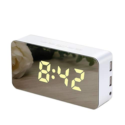 HiXB Despertador con Proyector Pantalla LED 2 Puerto USB 12/24 Horas Snooze,White